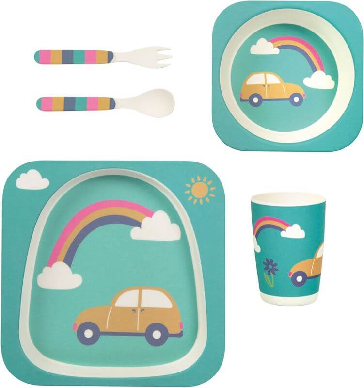 Süßes Geschirr-Set aus Bambus mit Auto