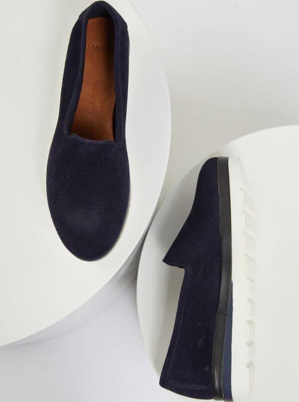 Dunkelblaue Damen-Slipper aus Leder