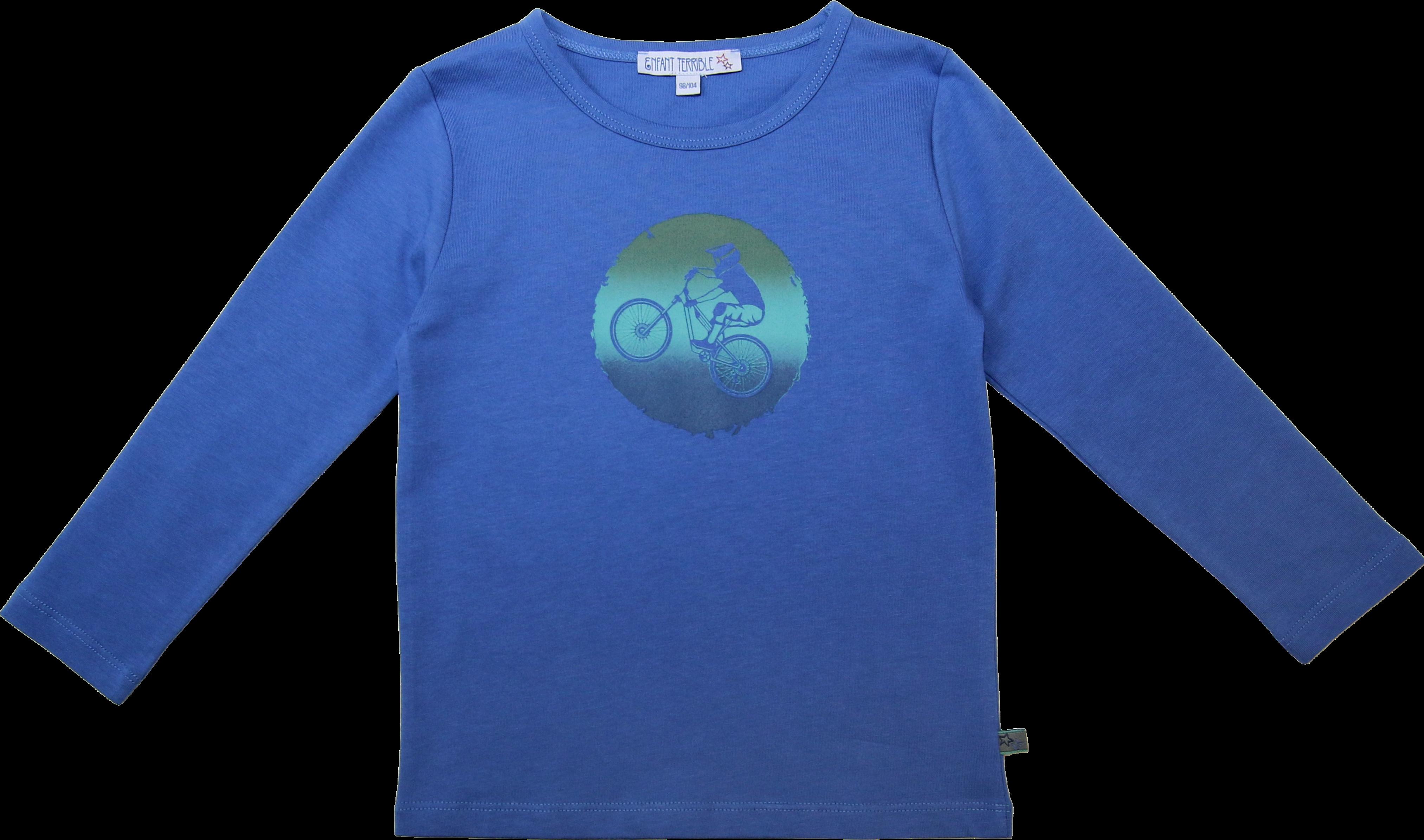 Kinder-Langarmshirt mit Mountainbike himmelblau