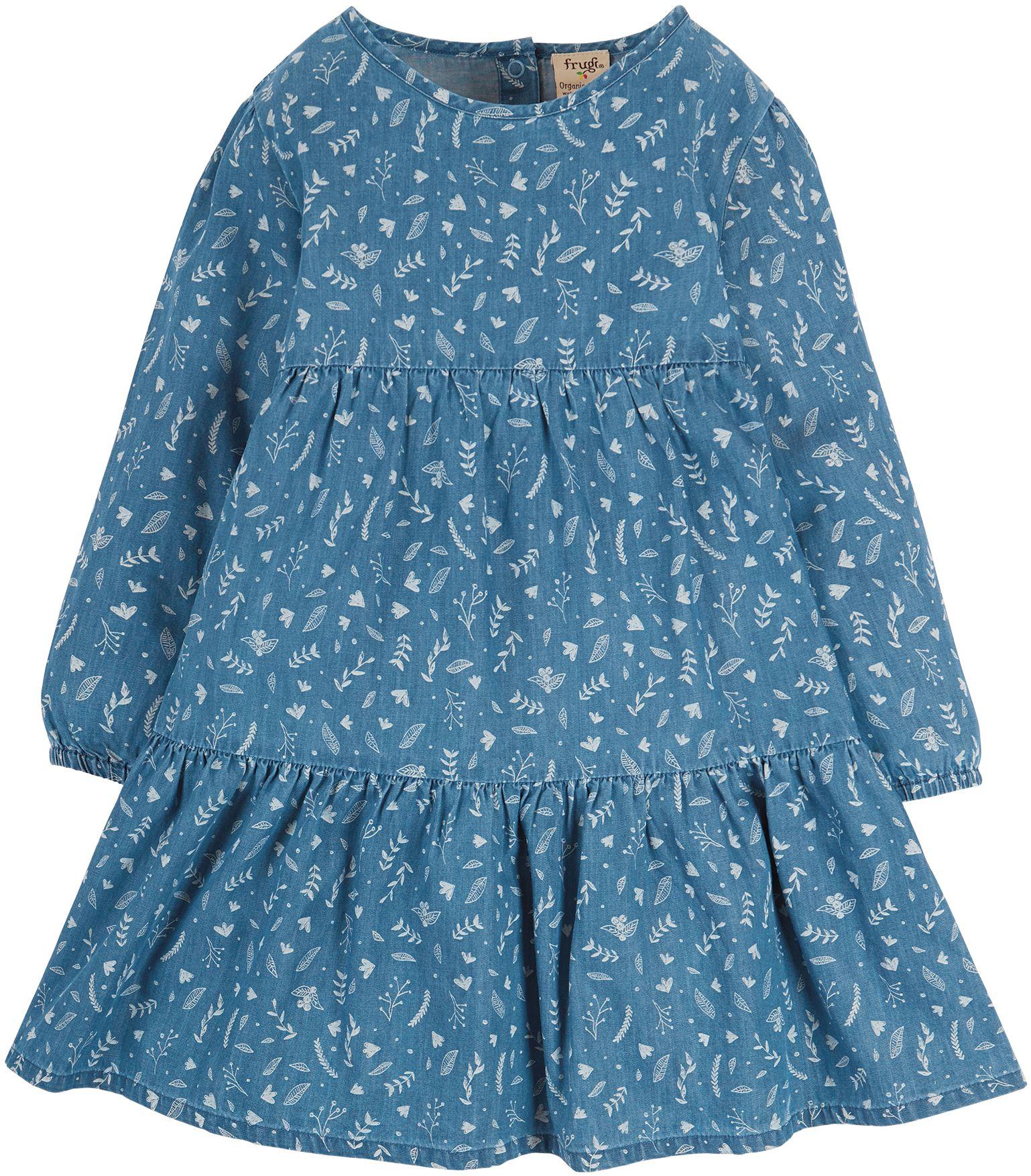 Langarm-Kleid mit Blätter-Print für Kinder