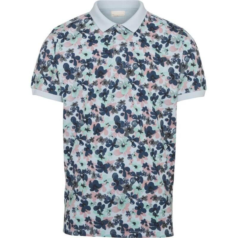 Hellblaues Polo-Hemd mit Blumen-Print