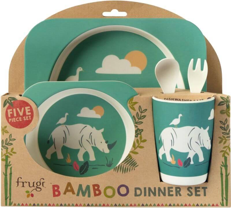 Cooles Geschirr-Set aus Bambus mit Nashorn