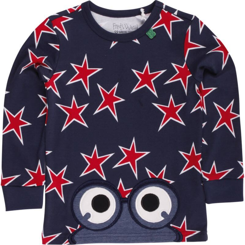 Dunkelblaues Baby-Longsleeve mit Sternen