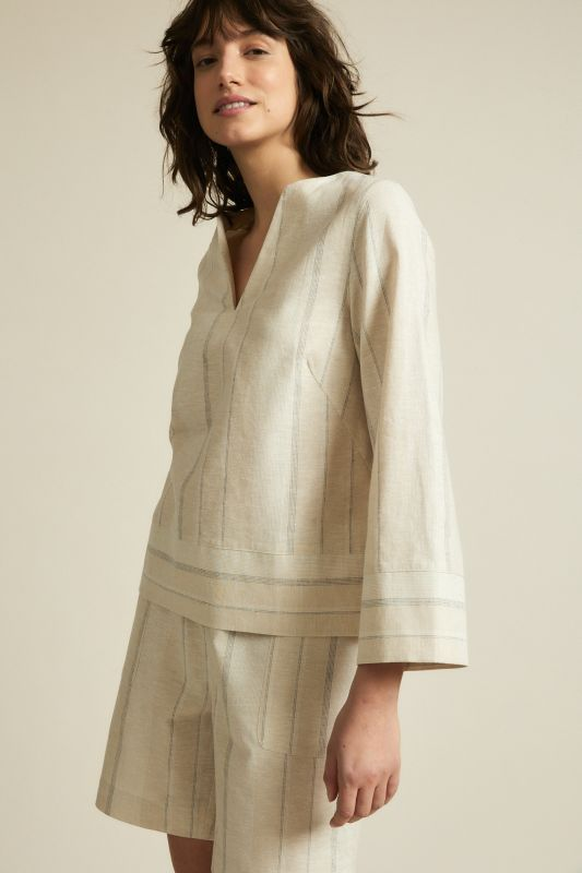 Gestreifte Bluse im Kaftan-Look in powder/white