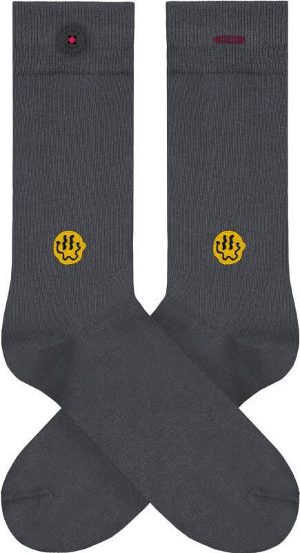 Dunkelgraue Socken mit Smiley-Stickerei