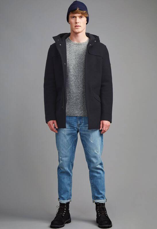 Kapuzenmantel Dedham mit Wolle carbon