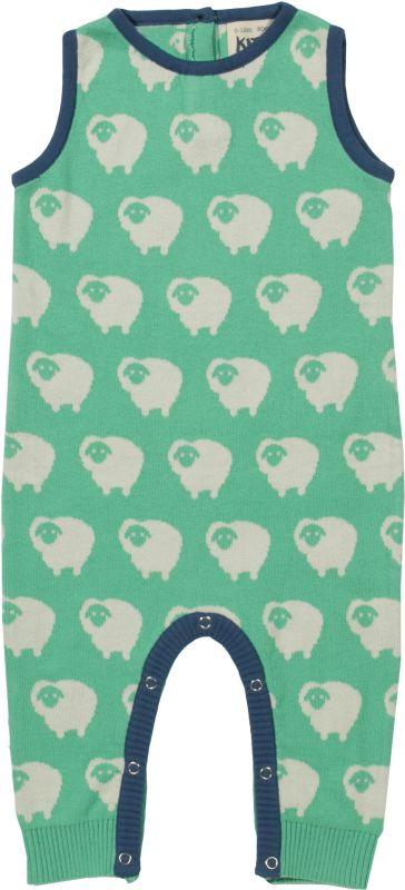 Grüner Strick-Strampler mit Schaf-Print