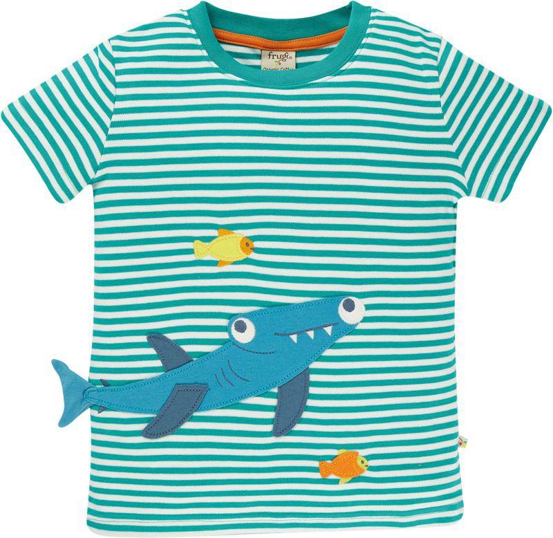 Blau gestreiftes Kurzarm-Shirt mit coolem Hai