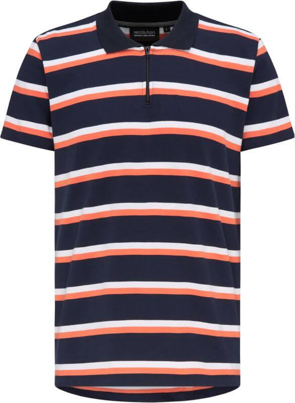 Heavy Polo-Shirt ZIP navy/coral/white