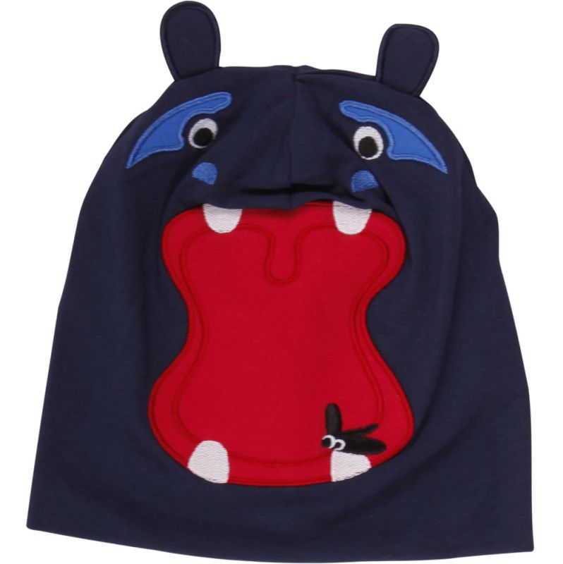 Dunkelblaue Beanie-Mütze mit witzigem Nilpferd