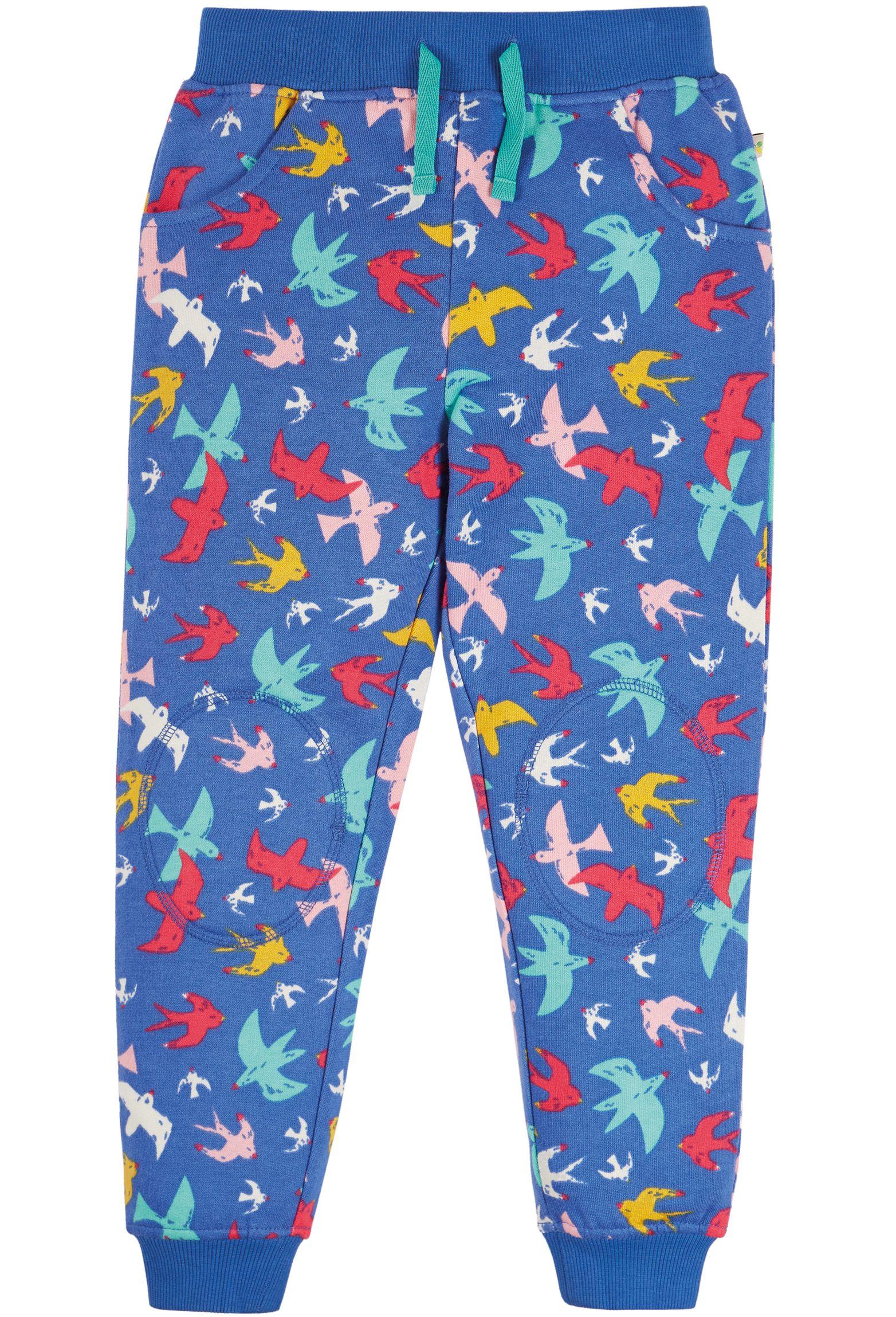 Bequeme Kinder-Hose mit bunten Vögeln