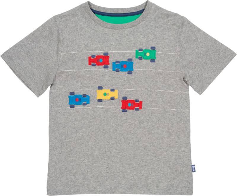 Graues Jungs-Shirt mit Rennwagen
