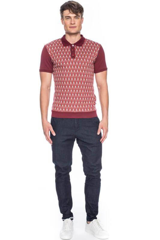 Rot-grau gemustertes Poloshirt Enzio für Herren
