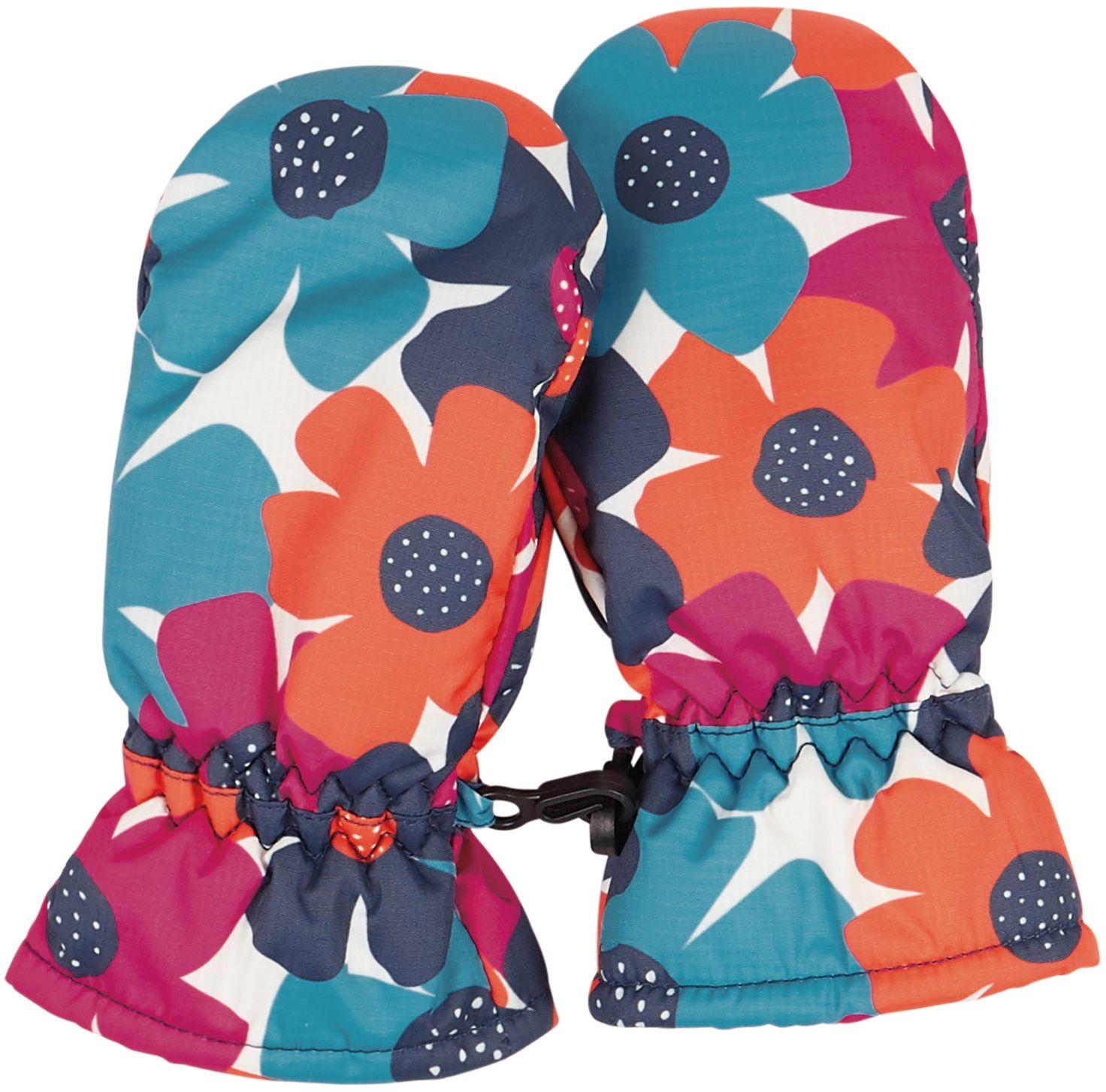 Kinder-Handschuhe mit buntem Blumen-Muster