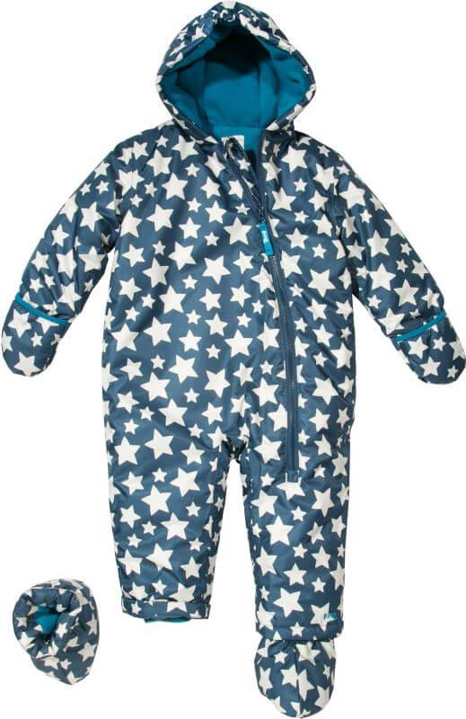 Dunkelblauer Baby-Schneeanzug mit Sternen