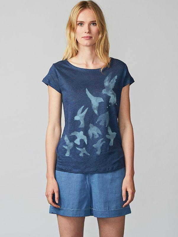 Kurzes Leinen-Shirt Aqua Birds in Scandinavian Blue
