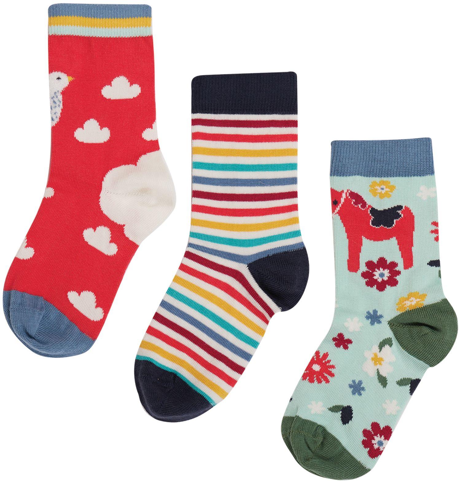 Gemusterte Kinder-Socken im 3er-Pack mit Pferd