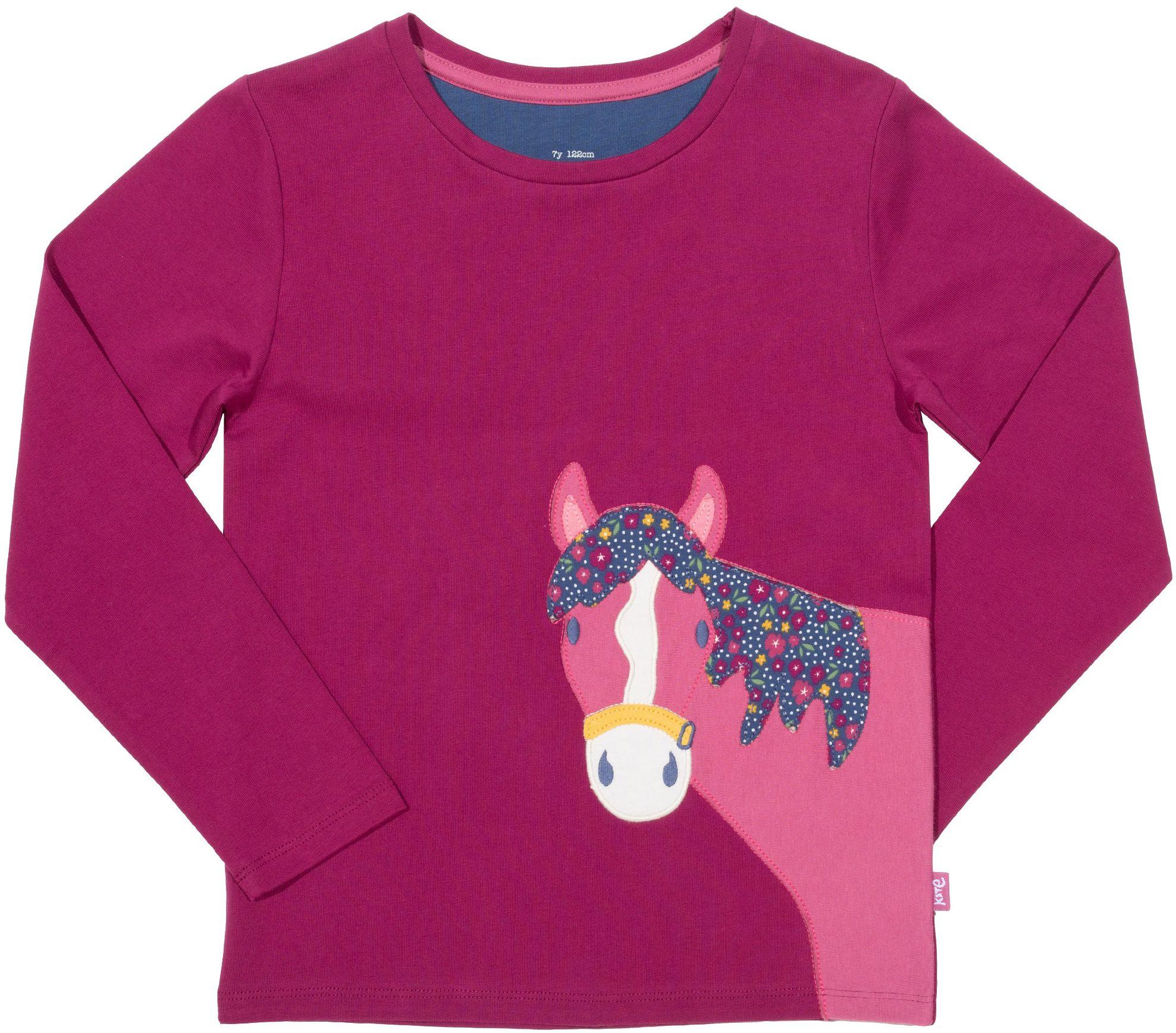 Kinder-Longsleeve mit Pferde-Applikation