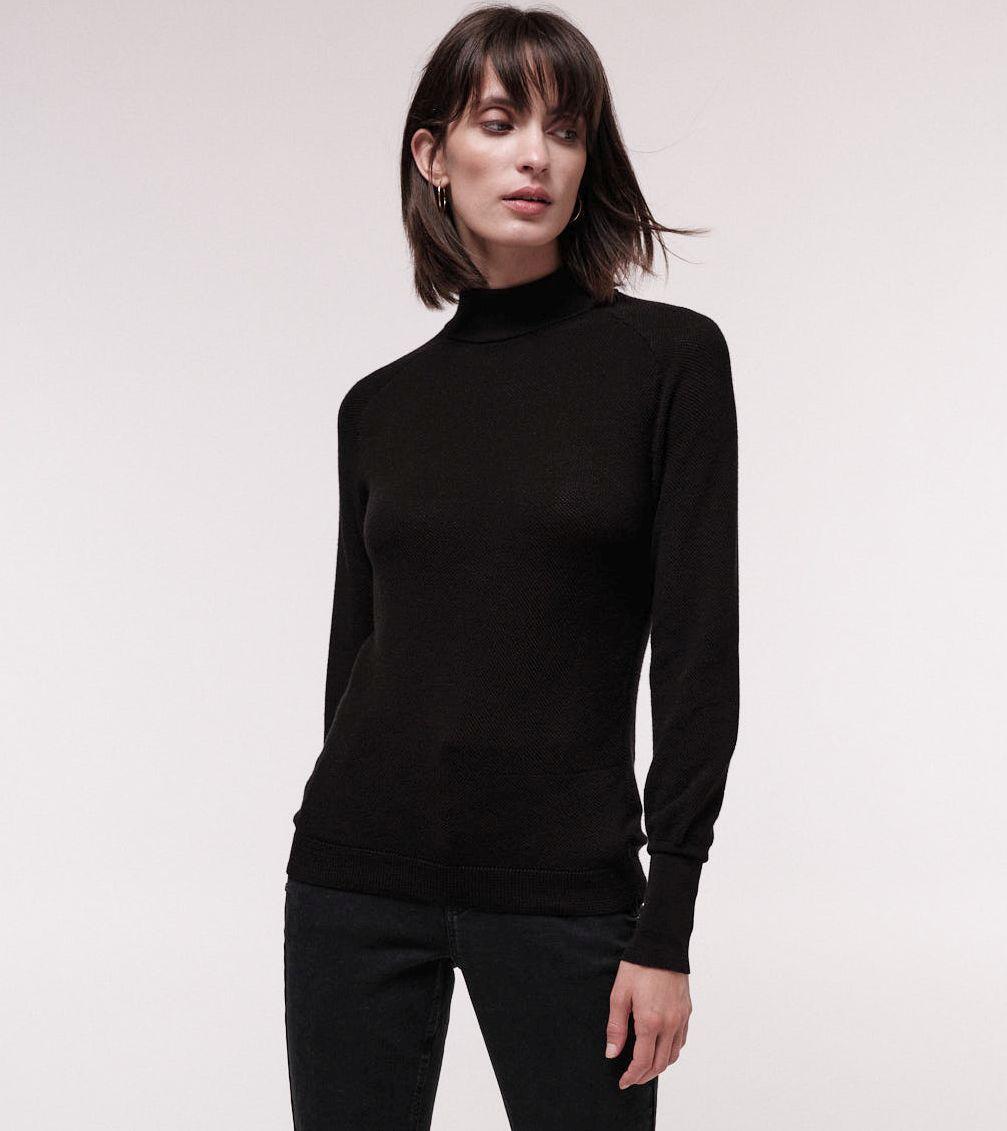 Feiner Rollkragenpullover für Damen black