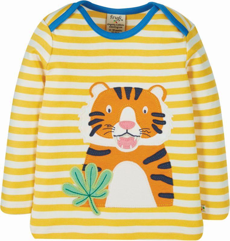 Gelb geringeltes Baby-Longsleeve mit Tiger
