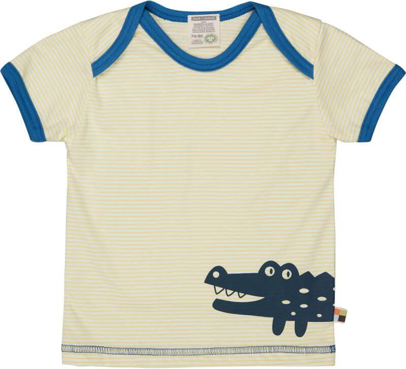 Gestreiftes T-Shirt mit Krokodil lemon