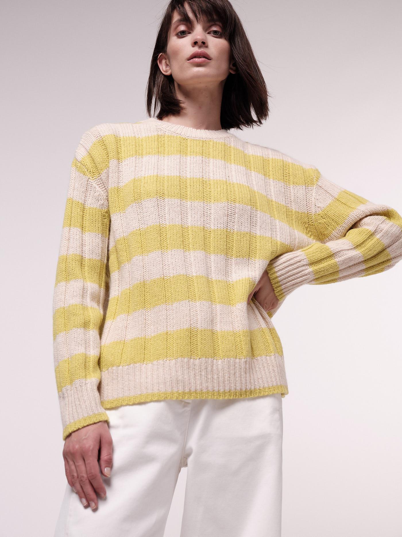Damen-Pullover mit Blockstreifen cream melange/neon yellow