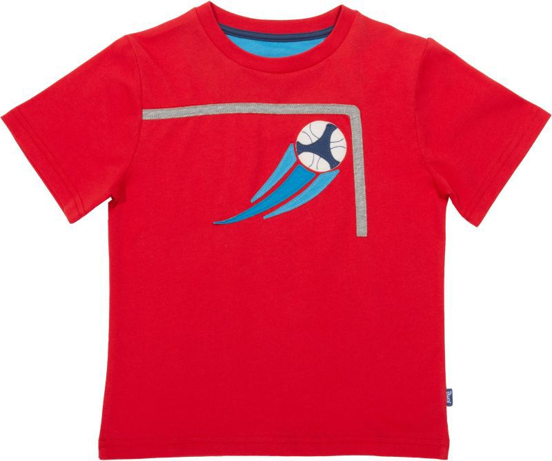 Rotes Jungs-Shirt mit Fußball-Motiv