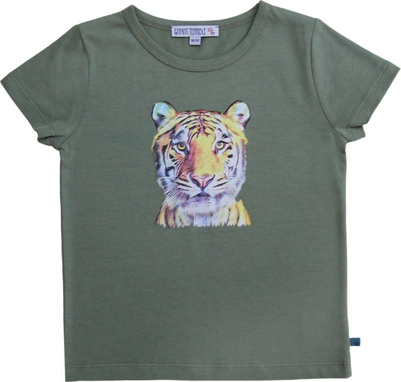 Kurzarm-Shirt mit coolem Tigerdruck oliv