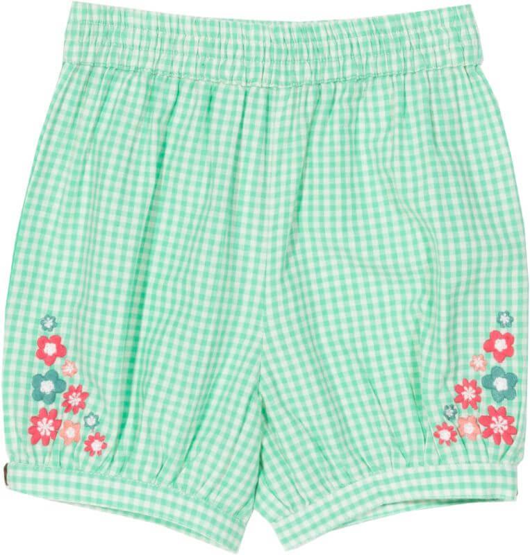 Grün karierte Baby-Shorts mit Blümchen