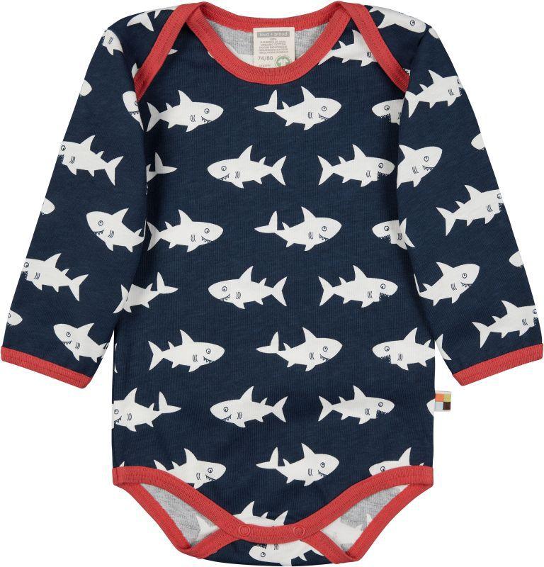 Langarm-Body mit Haien in Ultramarin