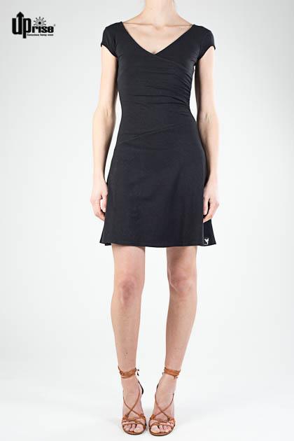 Bequemes Kurzarm-Kleid Party Dress in Schwarz