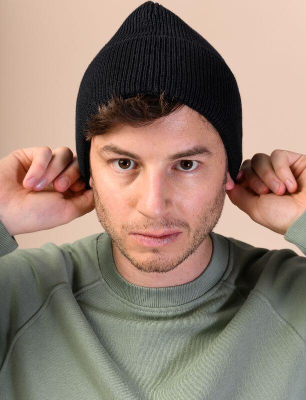 Bequeme Strick-Mütze KALI in Schwarz unisex