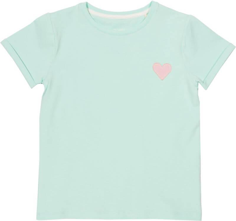 Mintgrünes Mädchen-Shirt mit kleinem Herz