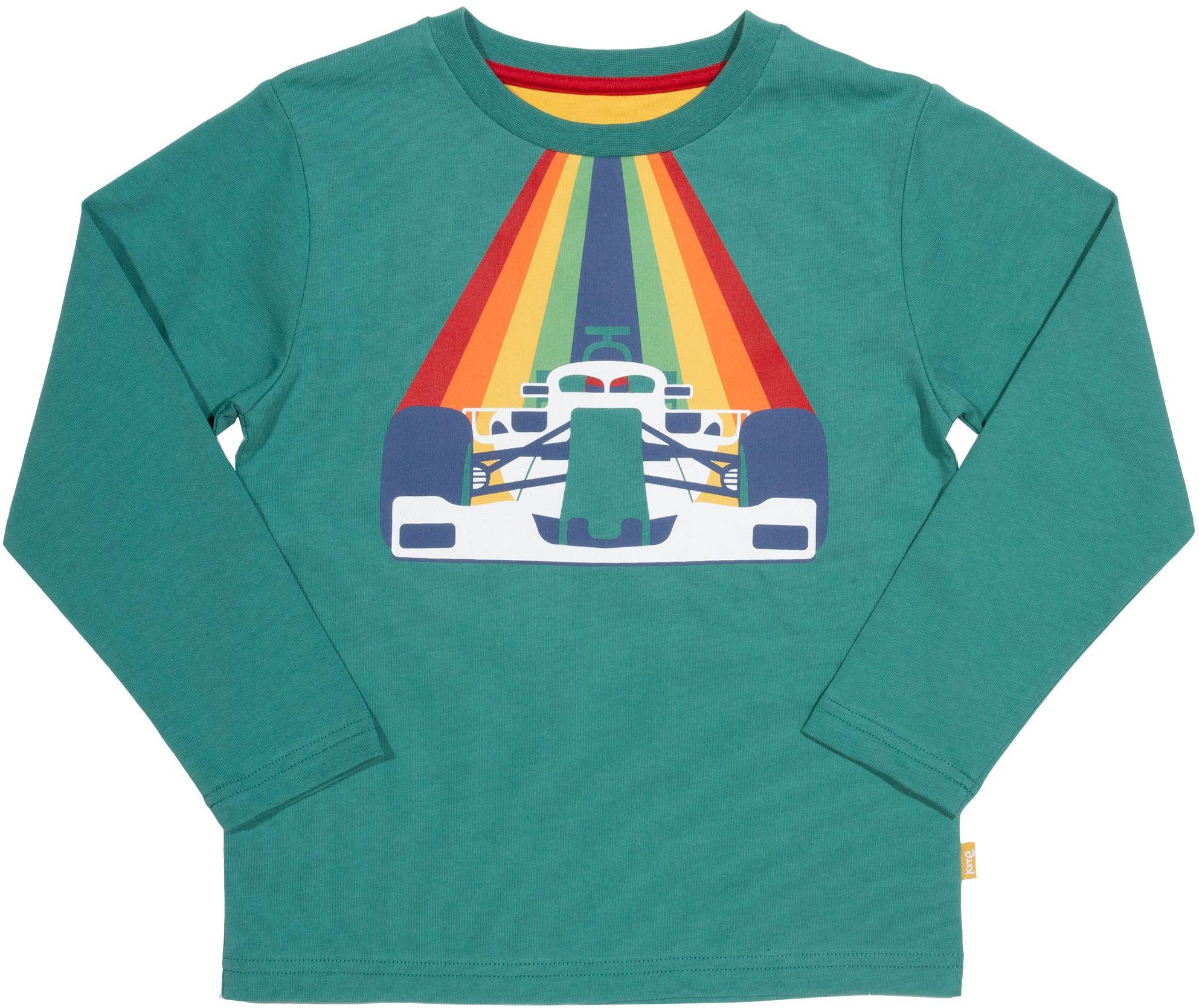 Kinder-Longsleeve mit Rennwagen-Motiv