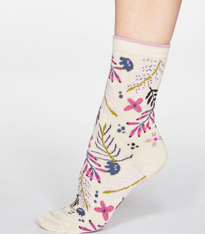 Damen-Socken Nelly Floral in Cream