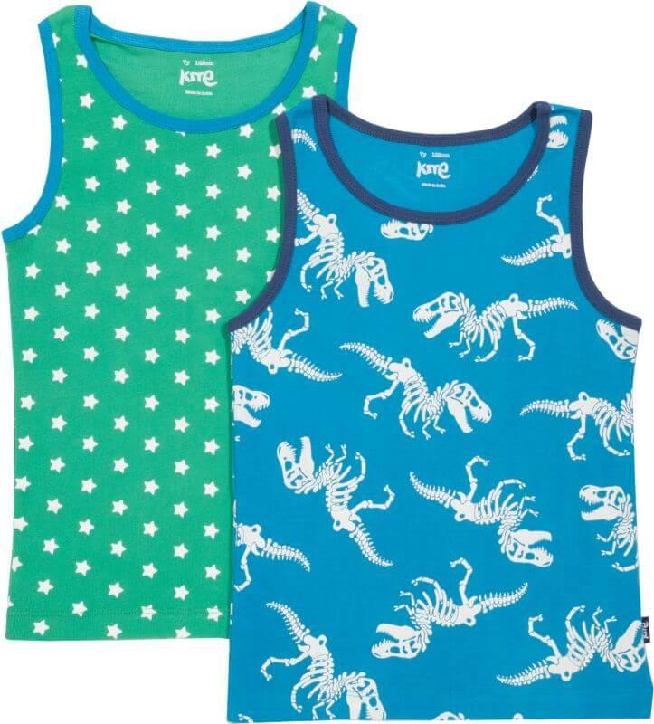 Jungs-Unterhemden mit Dinos im 2er-Pack