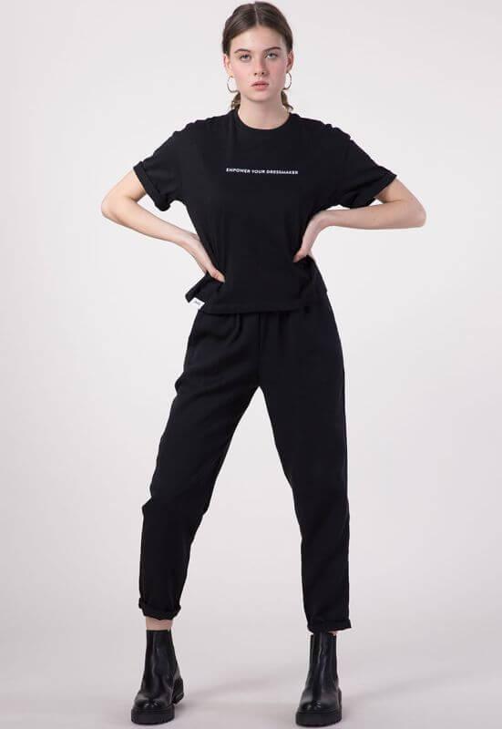 Cropped Damen-Shirt Empower in Schwarz