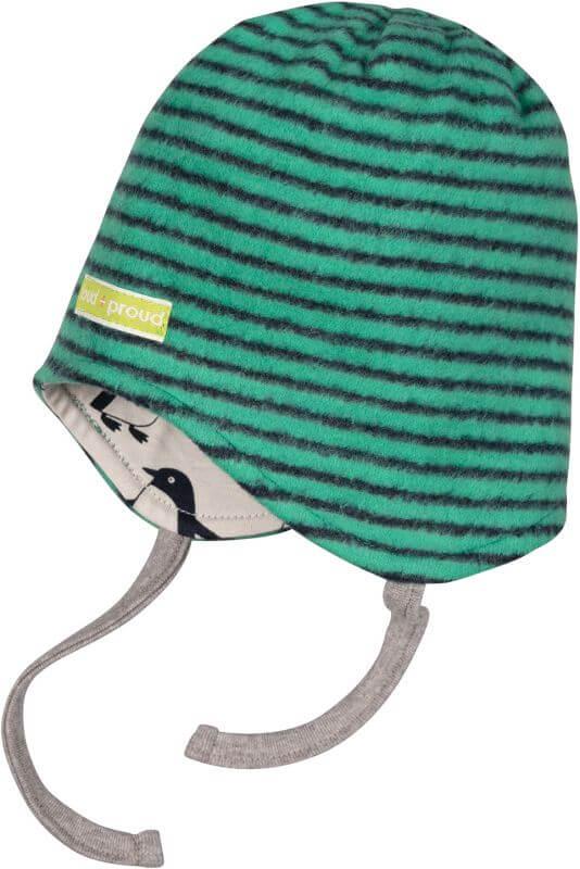 Geringelte Fleece-Wendemütze jade