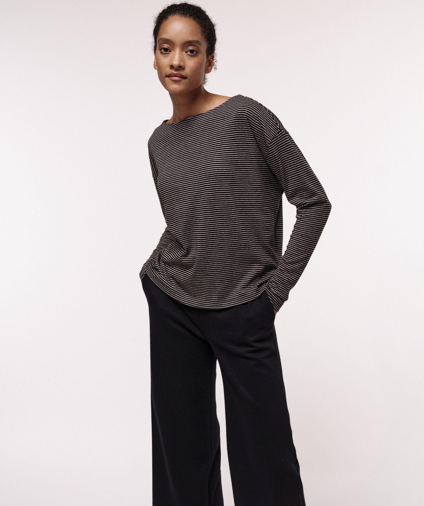 Gestreiftes Fledermausshirt für Damen small stripe black-camel mélange
