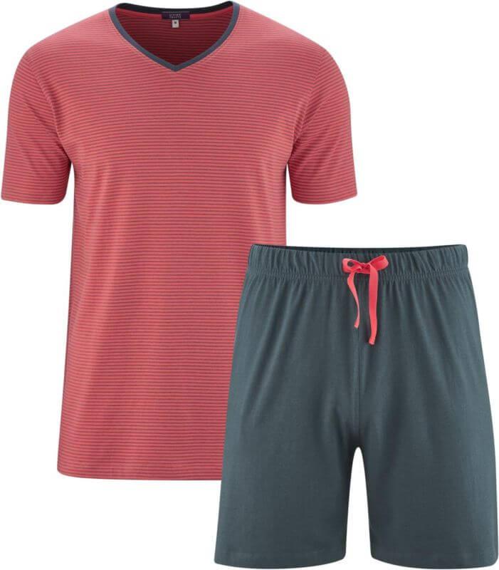 Kurzer Herren-Schlafanzug in Rot