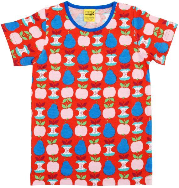 Rotes T-Shirt mit Äpfeln und Birnen