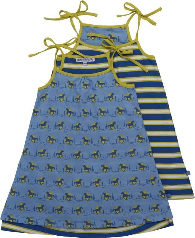 Süßes Wende-Kleid mit Pferde-Druck in Blau