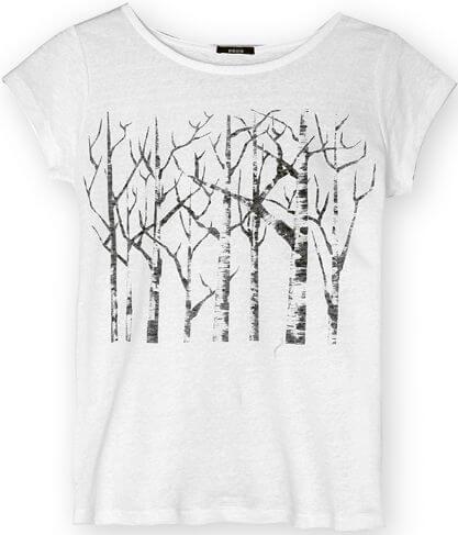 Leinen-Shirt Silver Birch Trees White