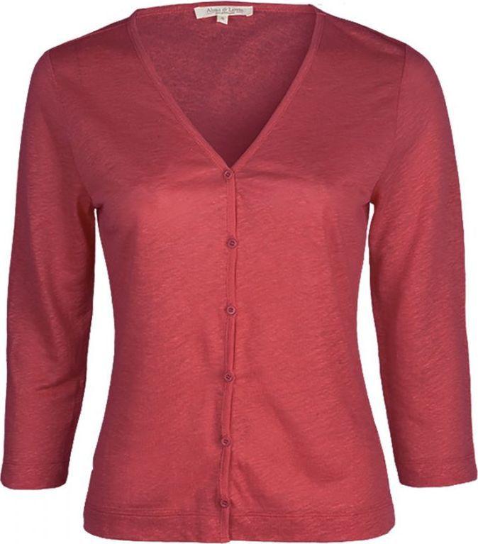 Leichter Damen-Cardigan aus Leinen in poppy red