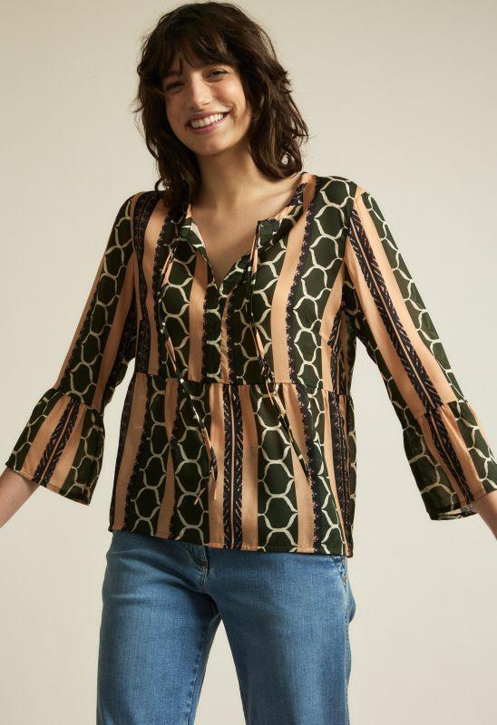 Leichte Bluse mit Ethno-Print in olive