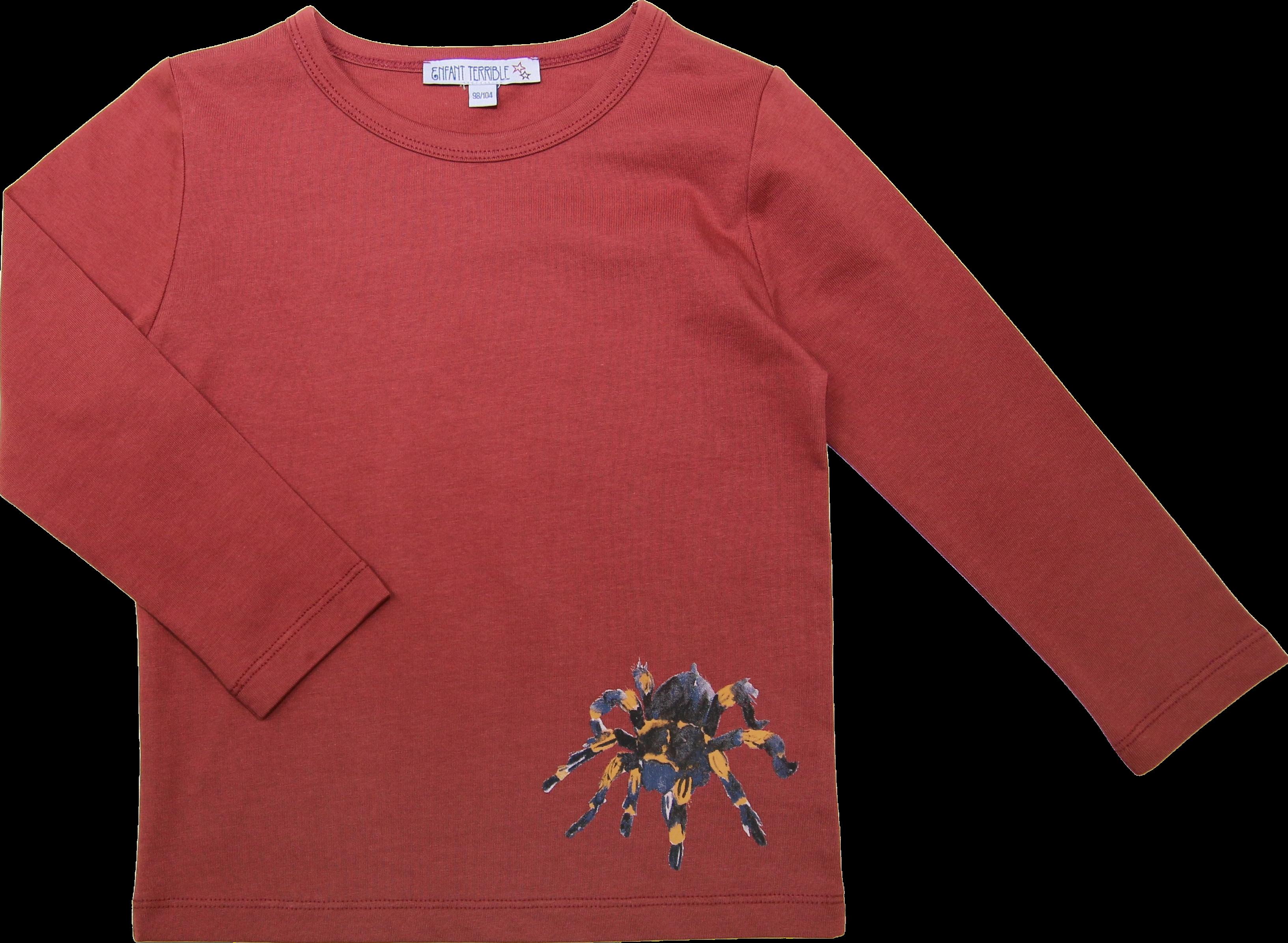 Kinder-Langarmshirt mit Spinne rost