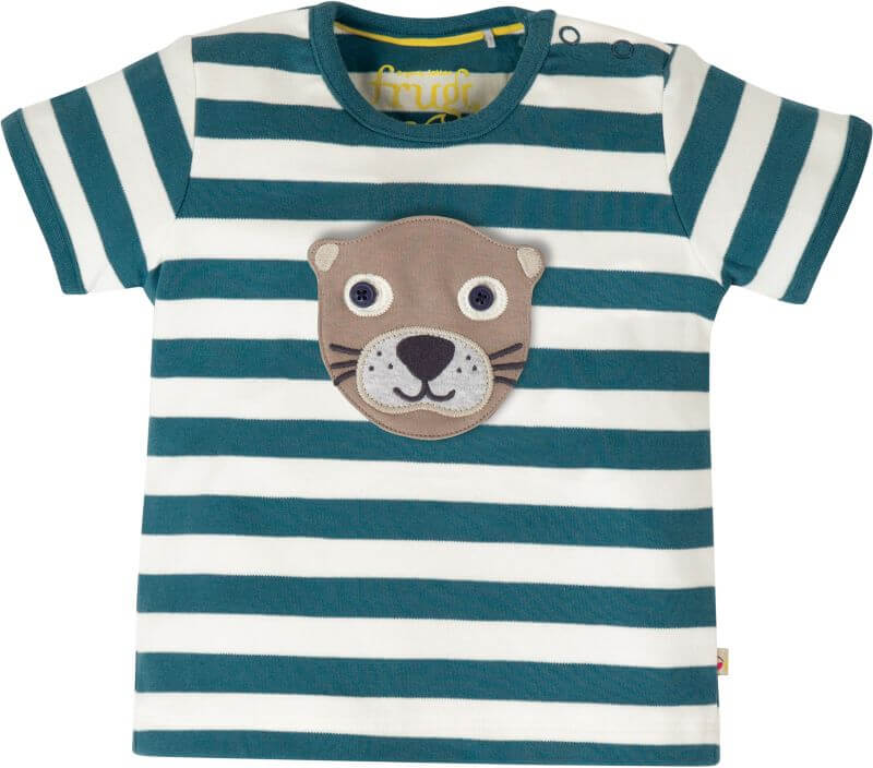Blau gestreiftes T-Shirt mit Tier-Applikationen