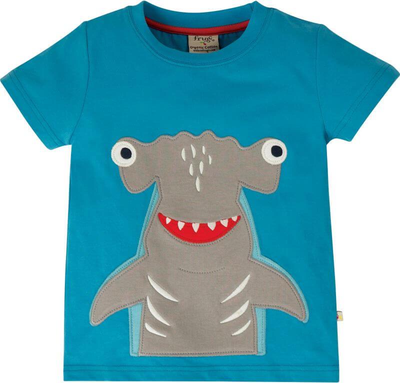 Blaues Jungs-Shirt mit Hammerhai