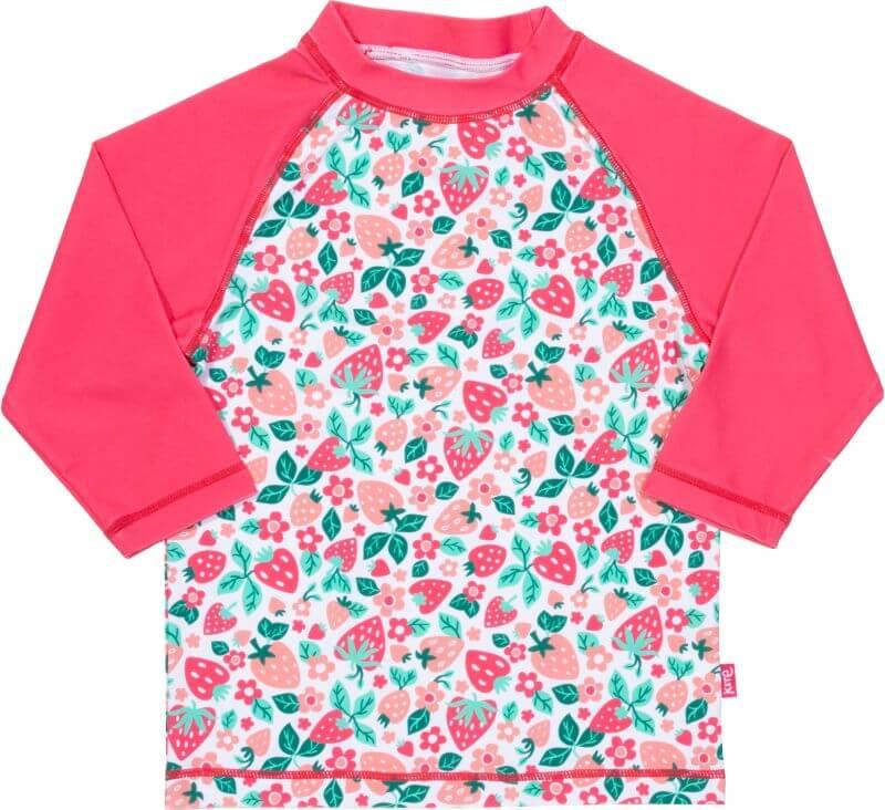 Pinkfarbenes Bade-Shirt mit Erdbeeren