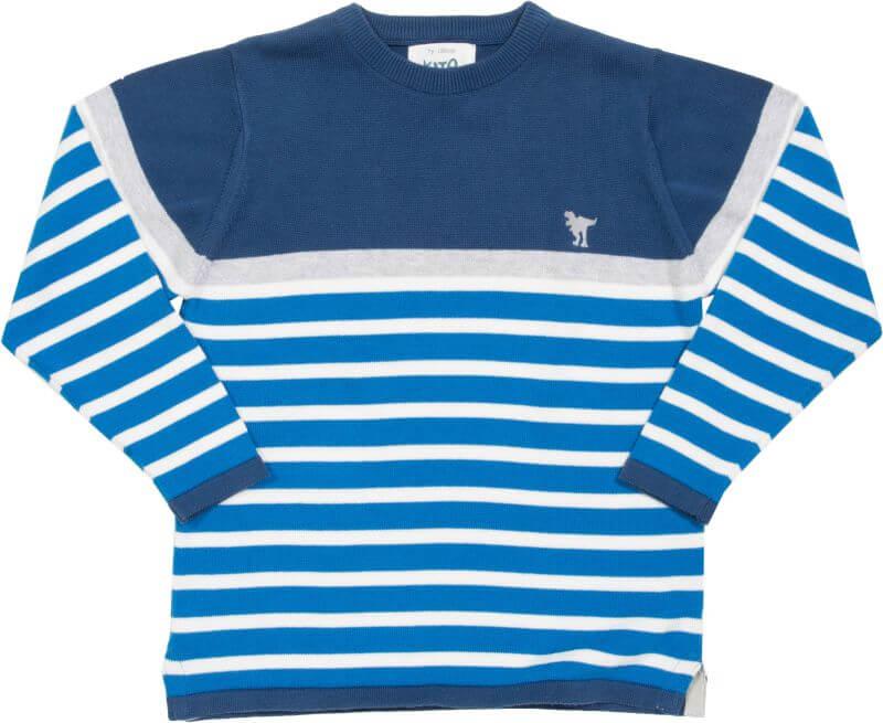 Blau gestreifter Strick-Pullover mit Dino-Stickerei